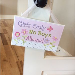 Girls Only Door Hanger Plaque Wall Decor